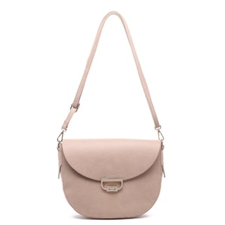 Pink Haley 'Nomi' Pink Faux-leather Half-moon Crossbody Purse
