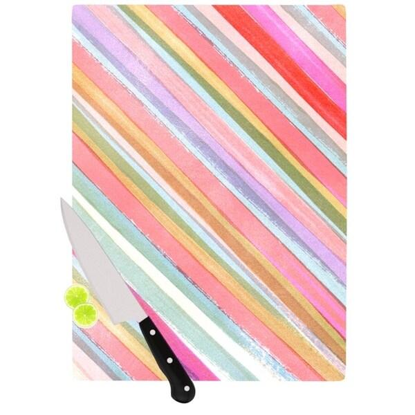 Kess InHouse Heidi Jennings 'Pastel Stripes' Pink and Multicolored Glass Cutting Board