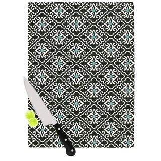 Kess InHouse Heidi Jennings 'Black Blue Geometric' White Cutting Board