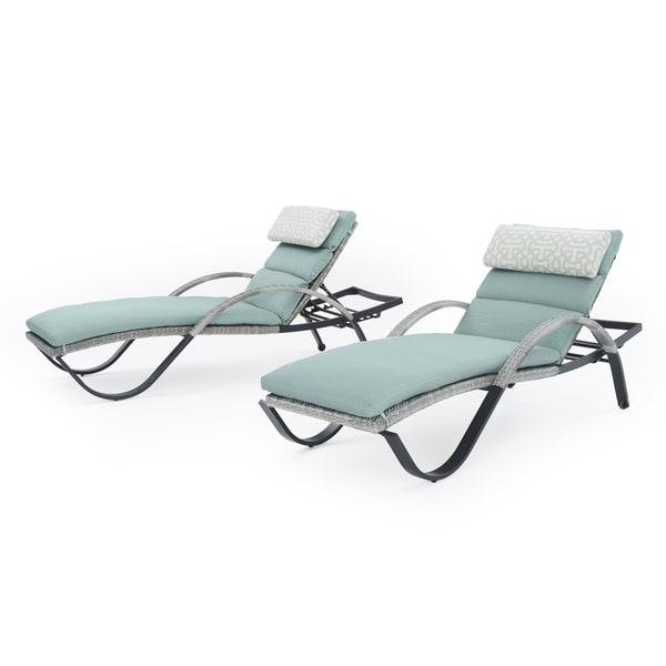 Shop Cannes Chaise Lounges With Cushions In Spa Blue By