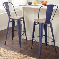 Tabouret Bistro Wood Seat Navy Bar Stools (Set of 2)