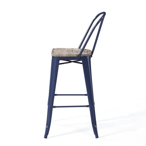 Wood Seat Bar Stool Part - 36: Tabouret Bistro Wood Seat Navy Bar Stools (Set Of 2) - Free Shipping Today  - Overstock.com - 19869399