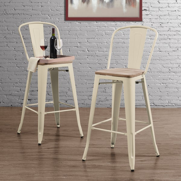 Tabouret Bistro Wood Seat Cream Bar Stools Set Of 2