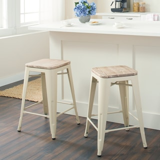 Tabouret Cream Counter Stool with Wood Seat (Set of 2)