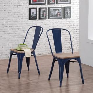 Tabouret Navy Wood Seat Bistro Chairs (Set of 2)