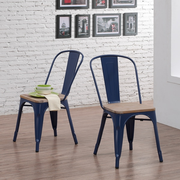Shop Navy Wood Seat Bistro Chairs Set Of 2 Free