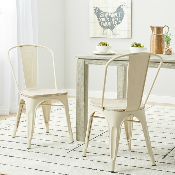 Carbon Loft Tabouret Cream Wood Seat Bistro Chairs (Set Of 2)