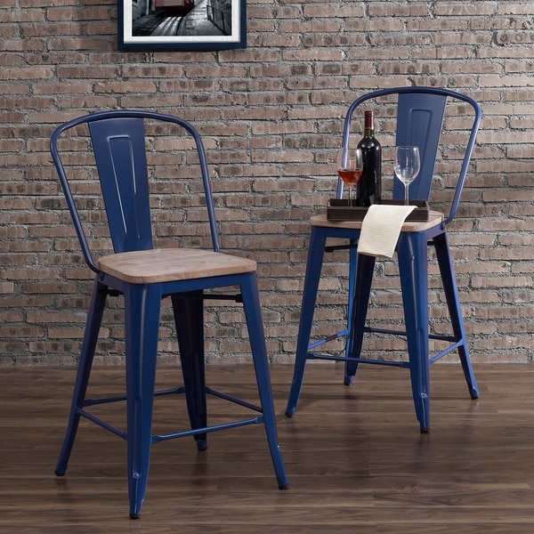 Shop Tabouret Bistro Wood Seat Navy Counter Stools (Set of 2) - On ...