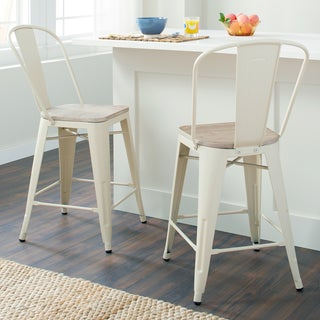 Tabouret Bistro Wood Seat Cream Counter Stools (Set of 2)