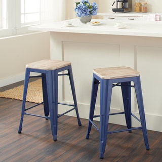 Tabouret Navy Counter Stool with Wood Seat (Set of 2)