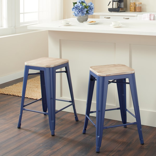 Shop Navy Counter Stool With Wood Seat Set Of 2 Free