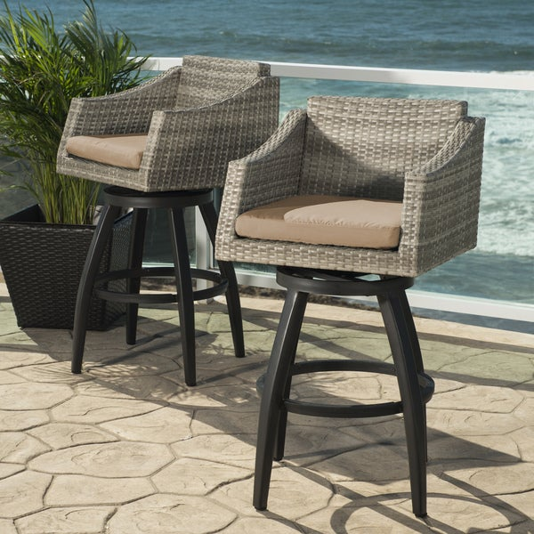 Shop Cannes Maxim Beige Cushioned Swivel Bar Stools Set
