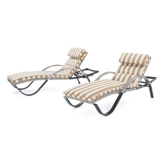 Cannes Chaise Lounges with Cushions in Maxim Beige by RST Brands