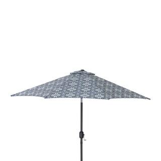 Pillow Perfect Woodblock Prism Blue 9-foot Patio Market Umbrella