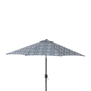 Pillow Perfect Woodblock Prism Blue 9 Foot Patio Market Umbrella