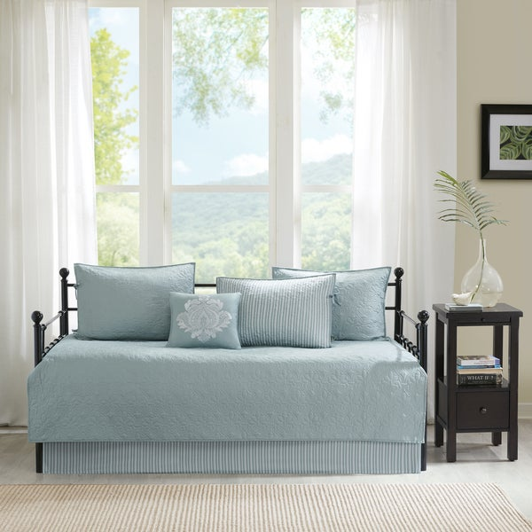 Madison Park Mansfield Seafoam Printed 6 Piece Day Bed Cover Set