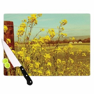 Kess InHouse Graphic Tabby Spring Breeze Yellow Glass Photography Cutting Board