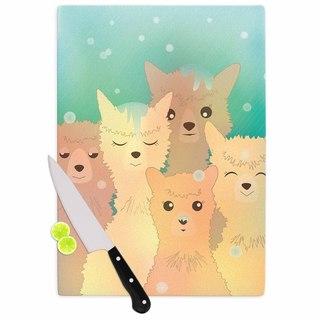 KESS InHouse Graphic Tabby 'Alpacas In Snow' Pastel Animals Cutting Board