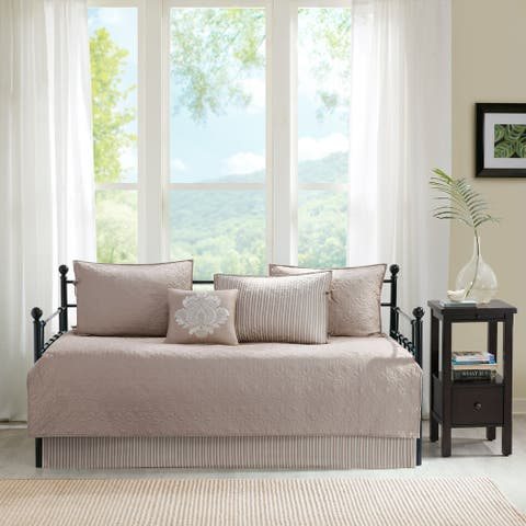 Madison Park Mansfield Khaki Printed 6 Piece Day Bed Cover Set