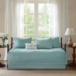 Link to Madison Park Brenna Blue Printed  6 Piece Day Bed Cover Set Similar Items in Daybed Covers & Sets