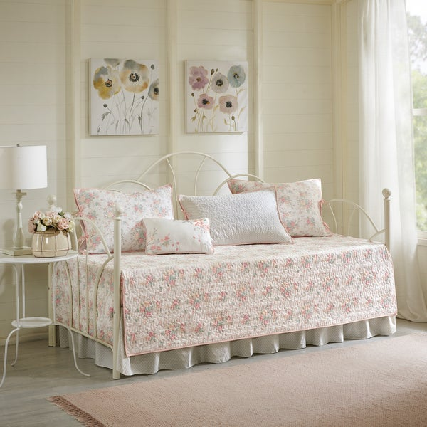 Madison Park Harmony Coral 6-piece Cotton Percale Day Bed Cover ...