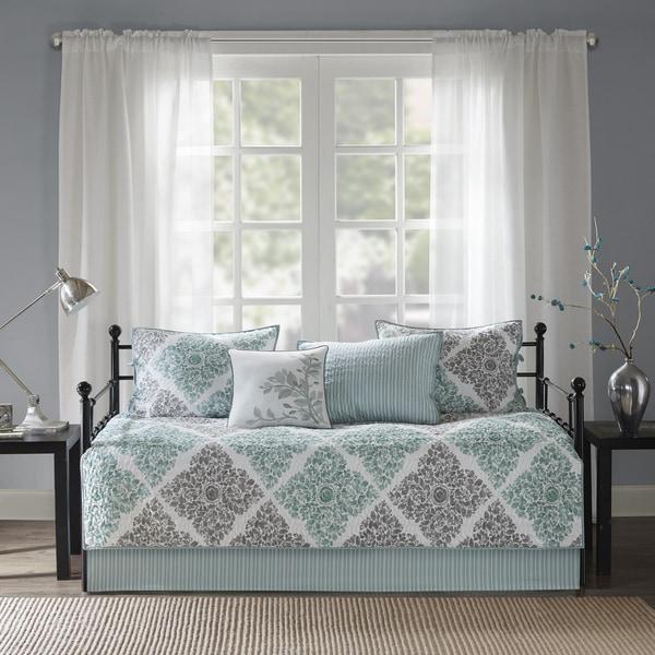 Madison Park Montecito Aqua Printed 6-piece Day Bed Cover Set