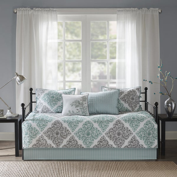Madison Park Montecito Aqua Printed 6-piece Day Bed Cover Set