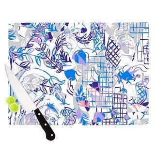 Kess InHouse Gabriela Fuente 'She' Blue and White Glass Cutting Board