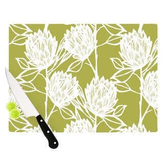 Kess InHouse Gill Eggleston 'Protea Olive White Flower' Green Tempered Glass Cutting Board