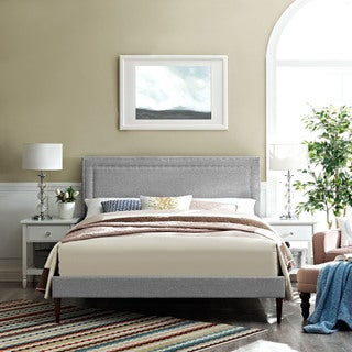 Jessamine Fabric Platform Bed with Round Tapered Legs in Light Gray