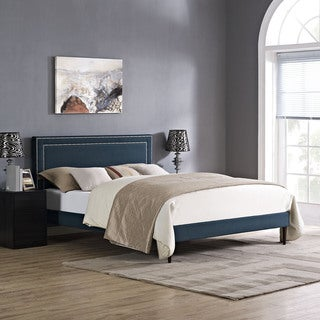 Jessamine Fabric Platform Bed with Round Tapered Legs in Azure