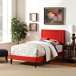 Jessamine Fabric Platform Bed with Squared Tapered Legs in Atomic Red