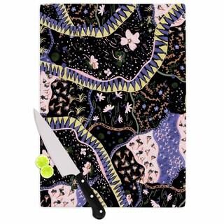 KESS InHouse Fernanda Sternieri 'Oriental Patchwork' Black Pattern Cutting Board