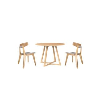 Malmo Ashtree Wood Round Table and Armless Chair