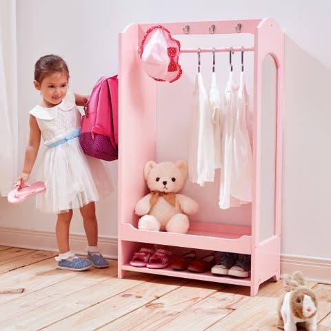 Teamson Kids' Windsor Pink MDF Dress-up Unit with Hooks