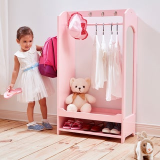 Teamson Kids' Windsor Pink MDF Dress-up Unit with Hooks