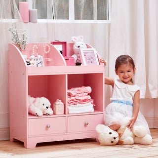 Teamson Kid's Windsor Pink Wood and MDF Cubby Storage