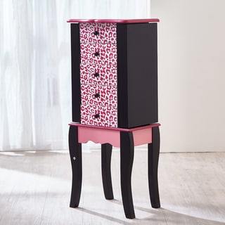Teamson Kids' Fashion Prints Leopard Pink and Black Wood and MDF 5-drawer Jewelry Armoire