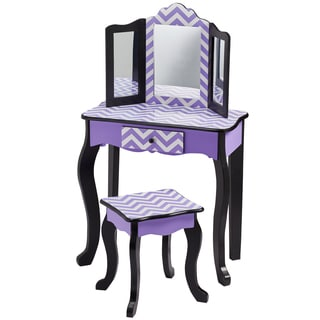 Teamson Kid's Fashion Prints Chevron Purple Wooad and MDF Vanity Table and Stool Set