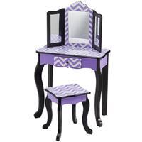Teamson Kid's Fashion Prints Chevron Purple Wooad and MDF Vanity Table and Stool Set