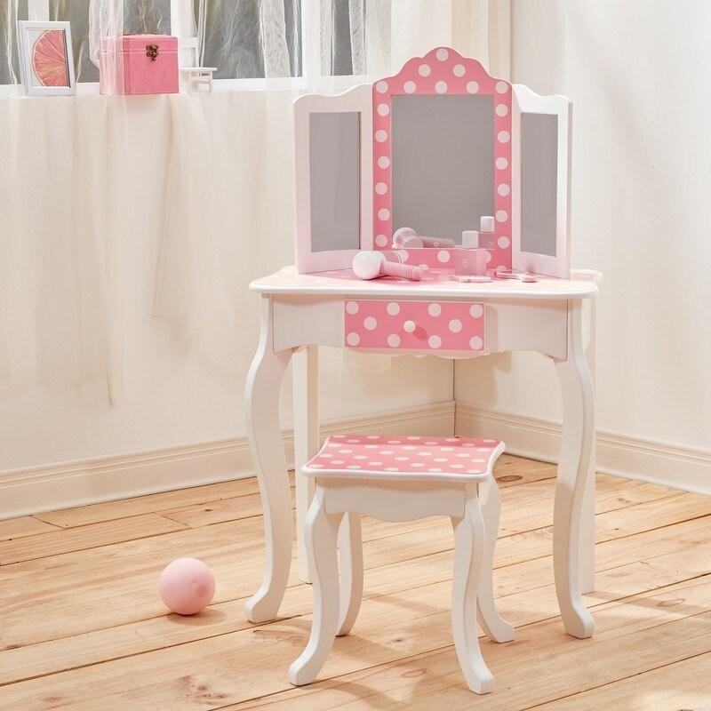 Teamson Kids' Fashion Prints White Wood/MDF Polka Dot Van...
