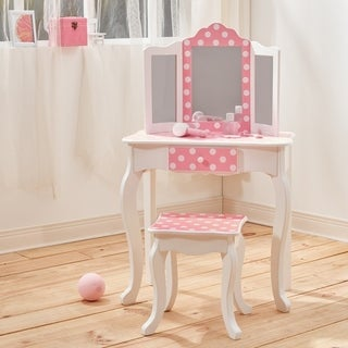 Teamson Kids' Fashion Prints White Wood/MDF Polka Dot Vanity Table and Stool Set
