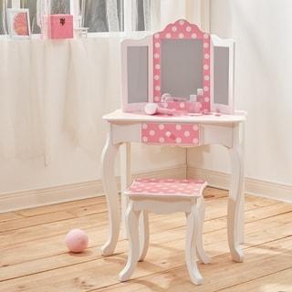 Teamson Kids - Fashion Gisele Play Vanity Set - Polka Dot Prints - Pink / White - N/A