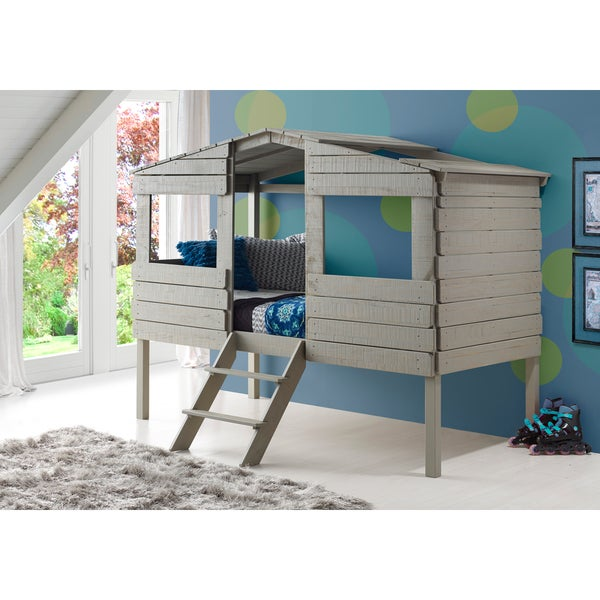 Donco Kids Rustic Grey Pine Wood Twin Size Tree House Loft Bed