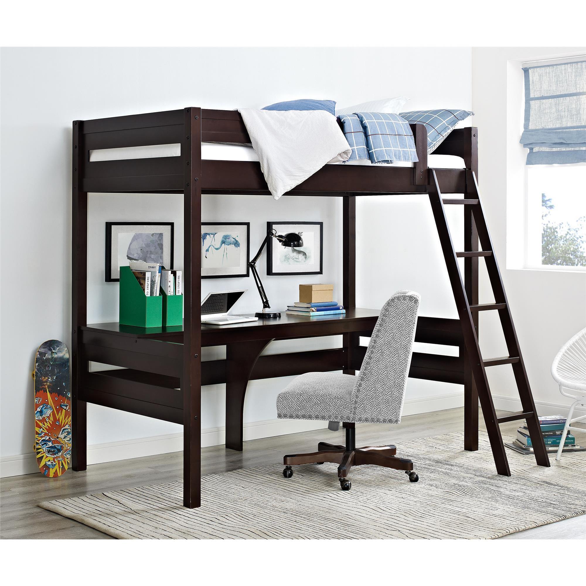 Dorel Living Harlan Loft Bed with Desk (Loft bed, espress...