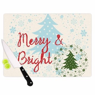 KESS InHouse Famenxt 'Merry And Bright' Holiday Typography Cutting Board