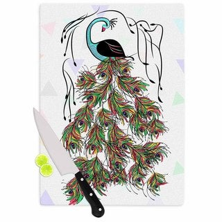 KESS InHouse Famenxt 'Colorful Peacock' White Green Cutting Board