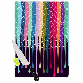 Kess InHouse Famenxt 'Rainbow Drops' Multicolored Argyle Cutting Board