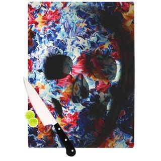 KESS InHouse Danny Ivan 'Skull Light' Blue Pink Cutting Board