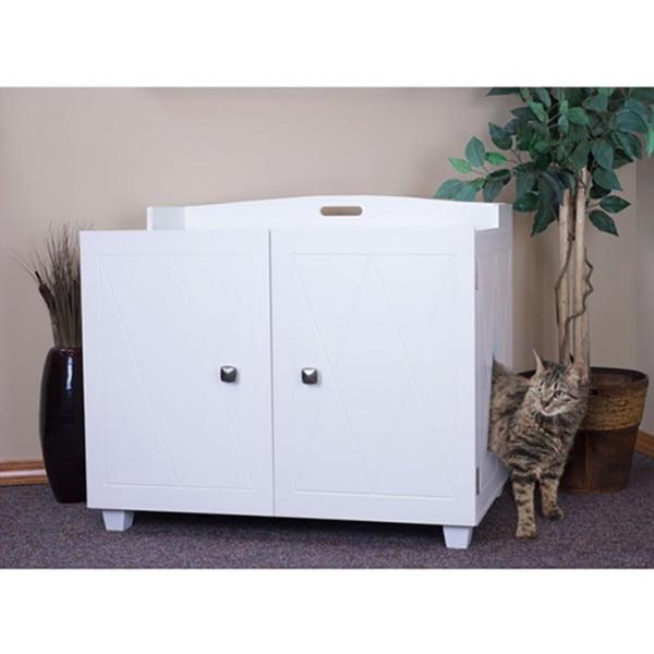 Shop Furhaven White Bench Hidden Kitty Litter Box